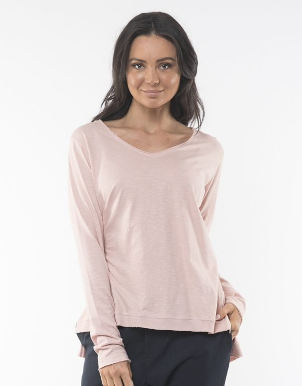Product Display of Foxwood Elements Highline Vee Neck Top - Pink